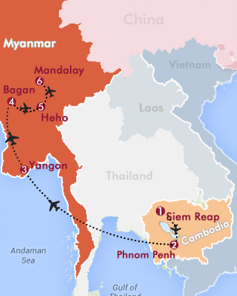 Classic Cambodia and Myanmar Tour Map