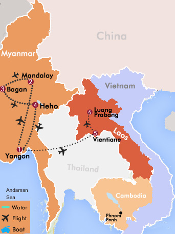 Classic Myanmar and Laos Tour Map