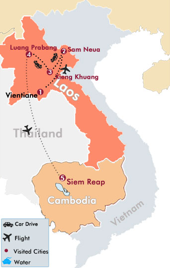 Discover Laos and Cambodia Tour Map