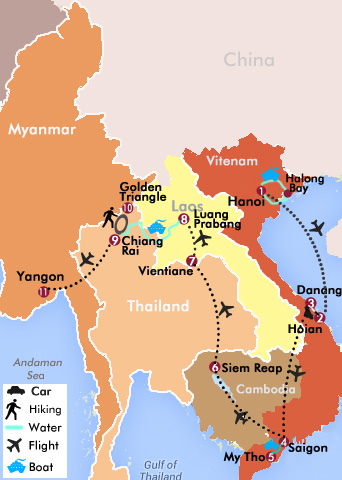 24 Days-Vietnam, Cambodia, Laos, Luang Say Cruise, Golden Triangle, Myanmar Map