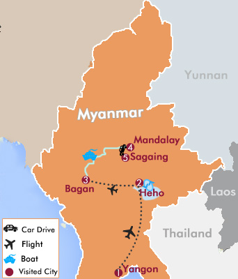 Myanmar Highlights Tour in Style Map