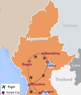 Classic Myanmar Tour with Nagpali Beach Map