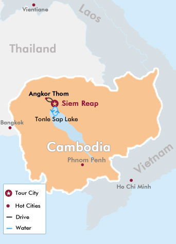 4 Days Cl Ic Cambodia Tour Map