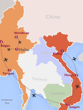 Classic Vietnam and Myanmar Tour Map