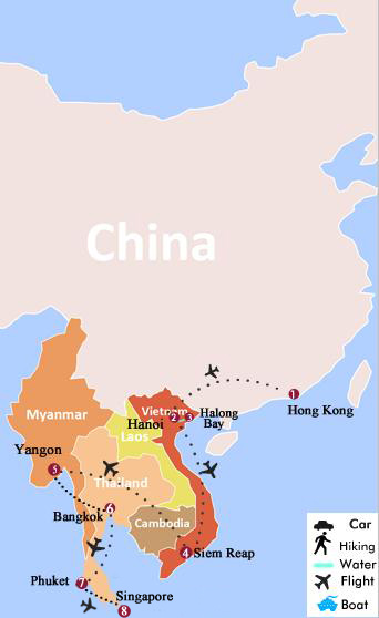 14 days hong kong vietnam cambodia myanmar thailand and map of 14 days hong kong vietnam cambodia myanmar thailand and singapore gumiabroncs Gallery