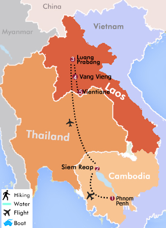 Map Of 12 Days Cambodia And Laos Highlights Tour