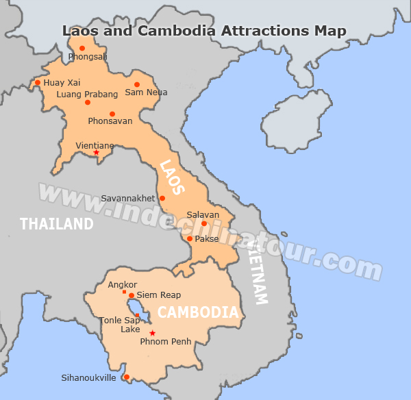Cambodia and Laos Travel Maps Maps of Laos and Cambodia