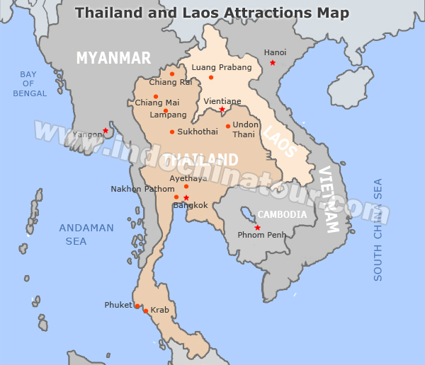 Lampang Thailand Map.Thailand And Laos Travel Maps Maps Of Thailand And Laos
