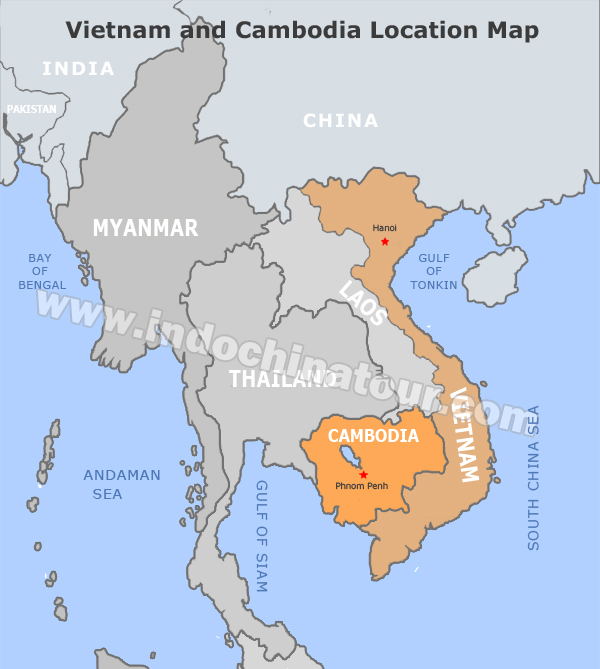 Vietnam And Cambodia Travel Maps: Vietnam Map Location At Slyspyder.com
