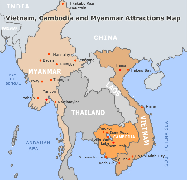 Vietnam and Cambodia Travel Maps – Myanmar Travel Map