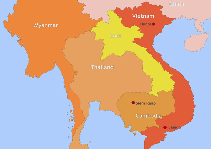 Map of Vietnam and Cambodia:Vietnam Cambodia Travel Map