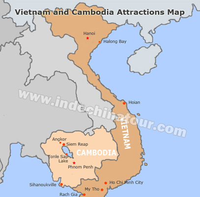 Vietnam and Cambodia Travel Maps