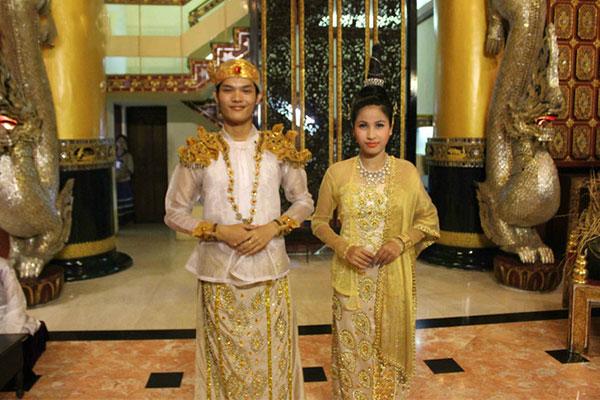 The typical and traditional garment of Myanmar is like a sarong worn both by men and women