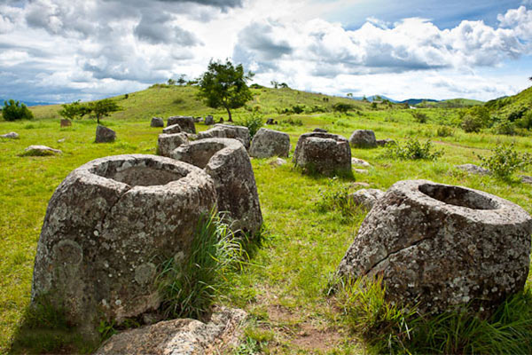 Plain of Jars is an uncanny collection of cylindrical rock pieces scattered over a vast area